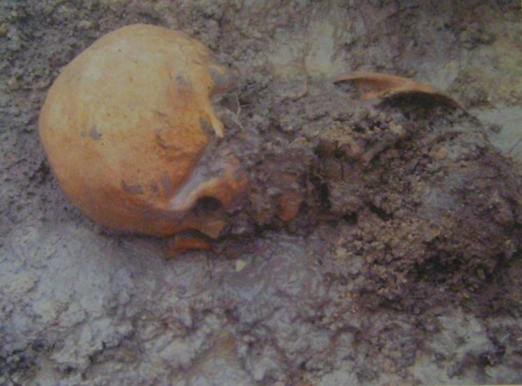 Rescate de restos óseos. Foto Grupo de Arqueología Arge y Terreros.