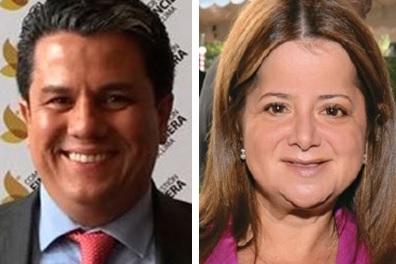 Ministro de Minas y Energía, Germán Arce y de Vivienda, Elsa Noguera De la Espriella.