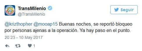 TransMilenio ha reconocido los bloqueos en su cuenta de Twitter.