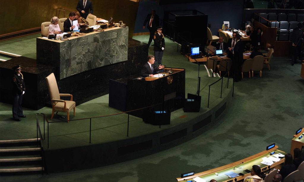 """Al intervenir ante la ONU, el Presidente Santos ofreció hoy al mundo """"con humildad y mucha gratitud"""", el ejemplo y el modelo de paz que Colombia está empezando a construir."""