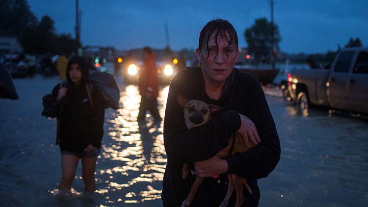 Una mujer, con su perro en brazos, tras ser evacuada de su casa Adrees Latif / Reuters