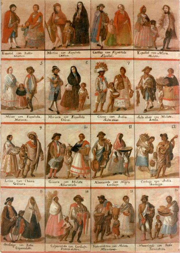En la época colonial surgieron las pinturas de las castas en las que se ilustraba las clasificaciones que había.