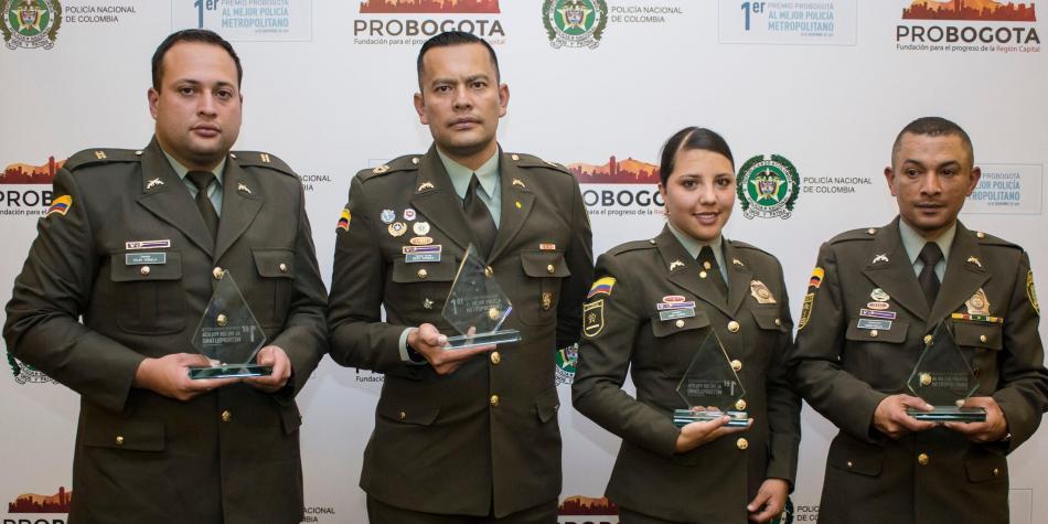 Estos son los ganadores del primer lugar en las cuatro categorías participantes: mejor oficial, mejor suboficial, mejor patrullero y mejor CAI.