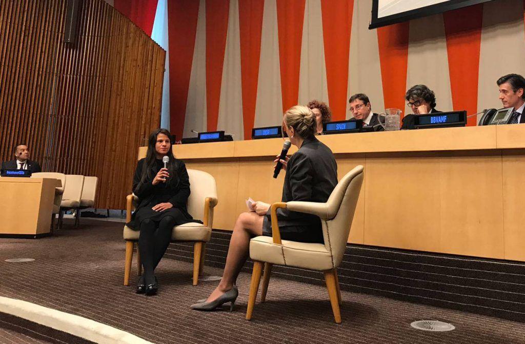 Jessica, durante su comparecencia en la ONU, el pasado lunes 5 de marzo.