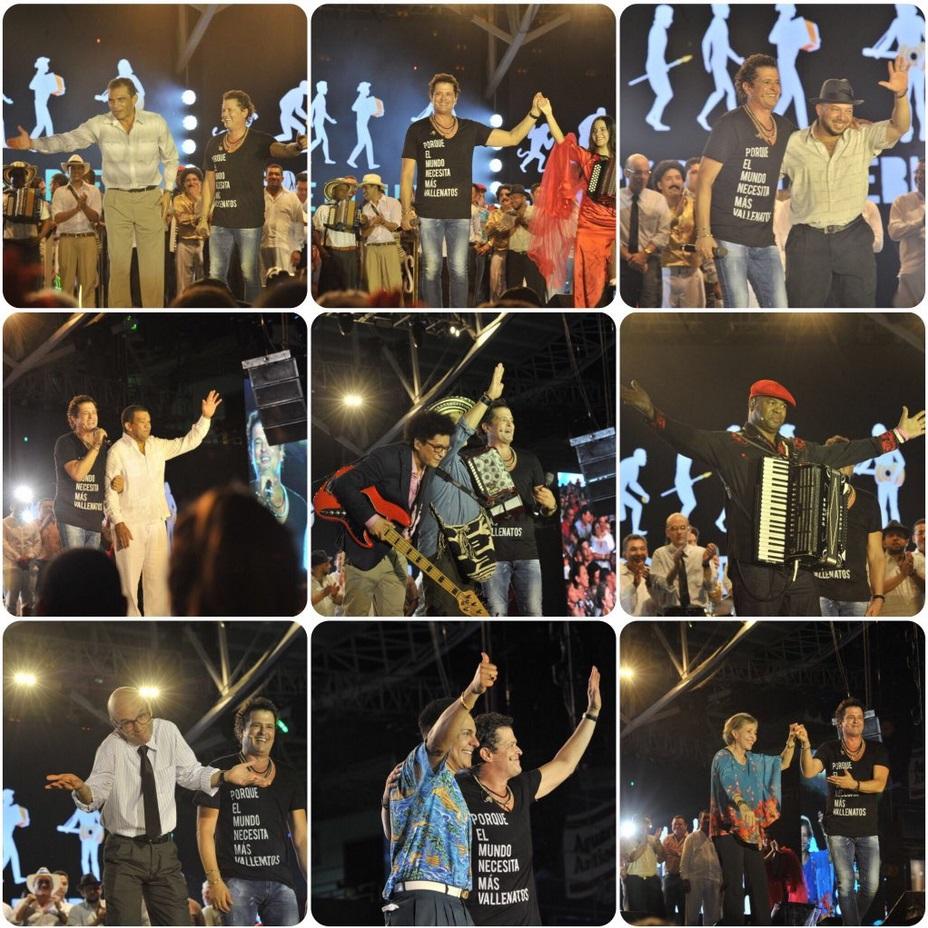 El homenaje a Carlos Vives resultó ser más un homenaje al Festival Vallenato por los grandes que pasaron al escenario con el cantante samario. (Dar clic para ampliar).