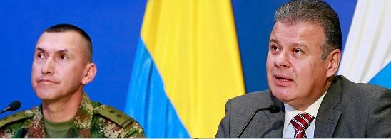 Rueda de prensa del General Luis Mauricio Ospina, comandante de la Décima Tercera Brigada del Ejército y Ricardo Carriazo, director de la Unidad contra el Narcotráfico de la Fiscalía