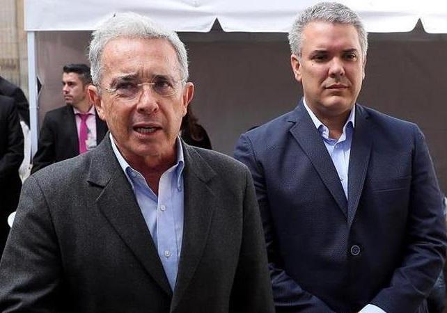 Álvaro Uribe en compañía de Iván Duque, candidato a la presidencia del Centro Democrático.