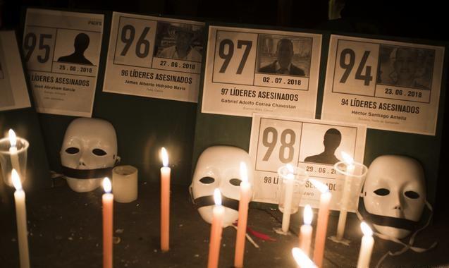 Protestas contra los asesinatos de activistas en Colombia.