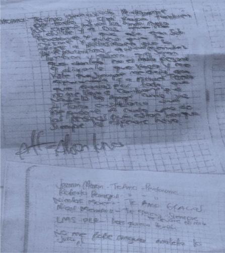 Las cartas con que Allison se despidió de sus padres y compañeros.