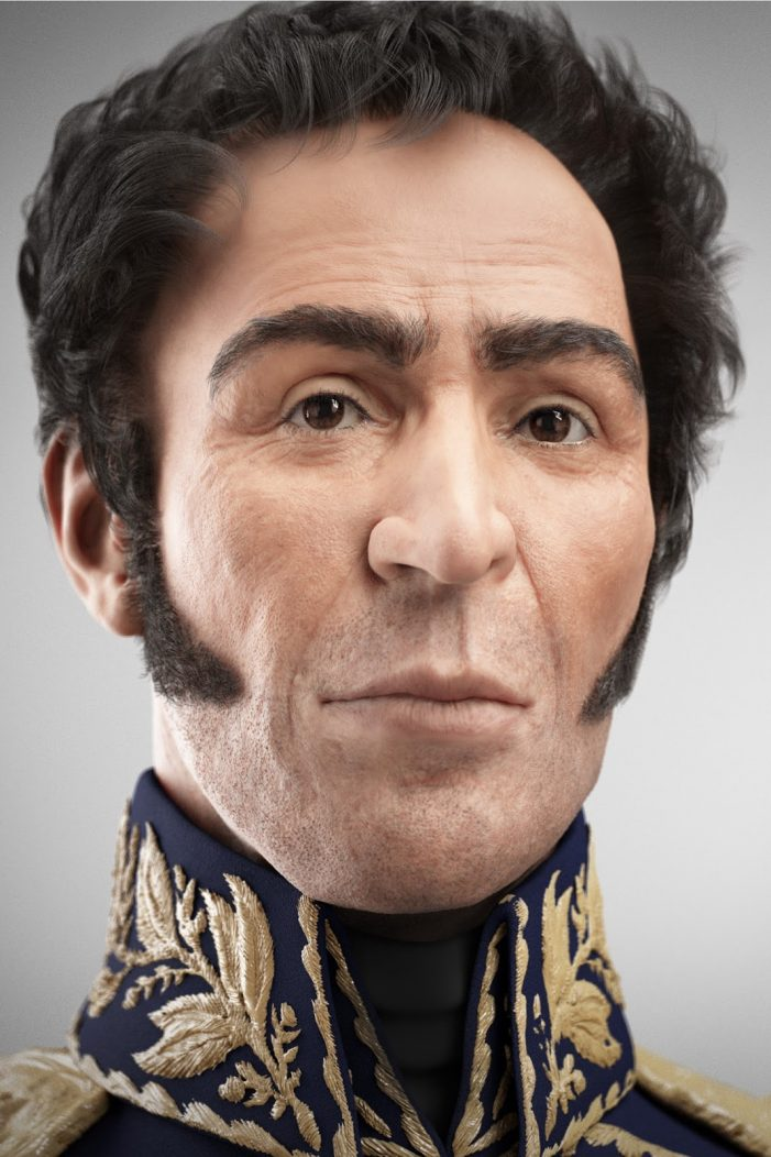 Hugo Chávez presenta imagen digitalizada del rostro de Simón Bolívar