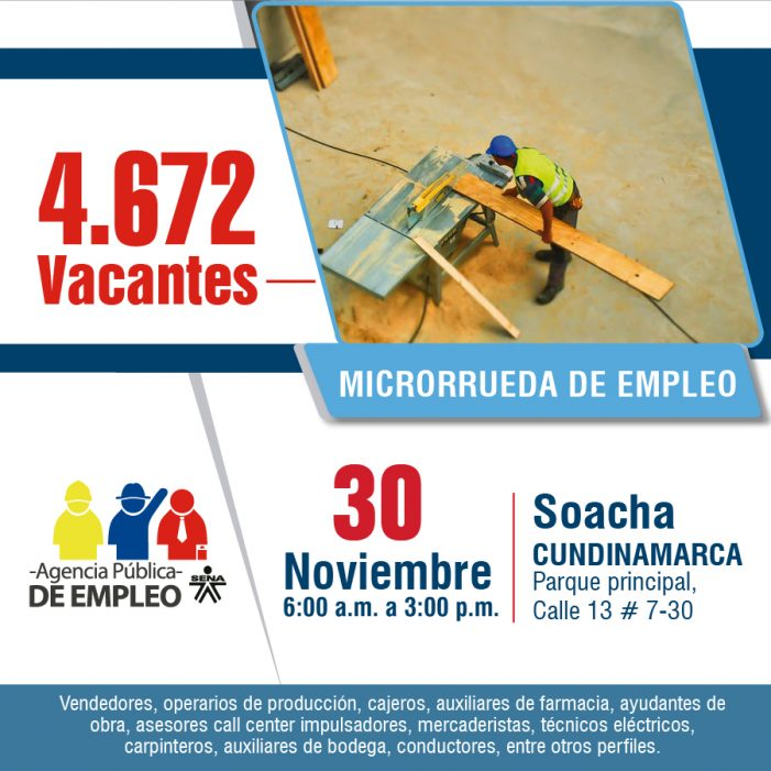 SENA ofrece en Soacha 4.672 nuevas oportunidades laborales