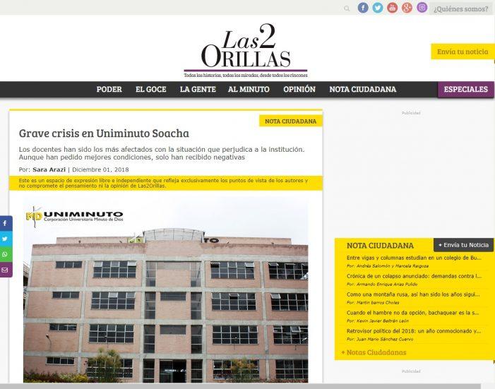 Denuncian grave crisis en Uniminuto Soacha