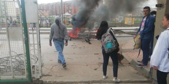 Protestas de estudiantes de la Univeridad de Cundinamarca en Soacha