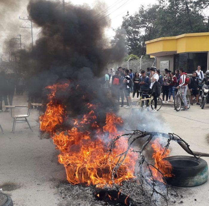 Protesta de estudiantes de la Universidad de Cundinamarca en Soacha