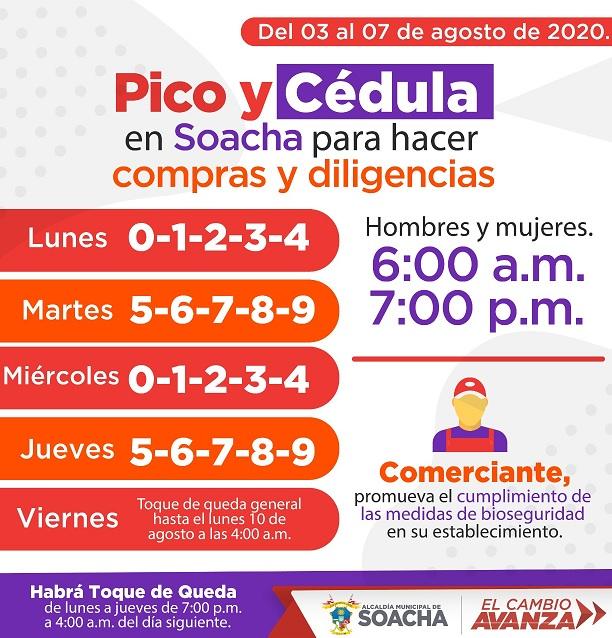 Siguen las restricciones de 'Pico y género' y el 'Pico y cédula' en Soacha desde el 3 al 9 de agosto