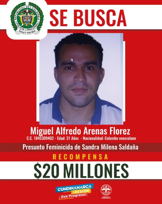 $20 millones de recompensa por información del paradero de feminicida en Cundinamarca